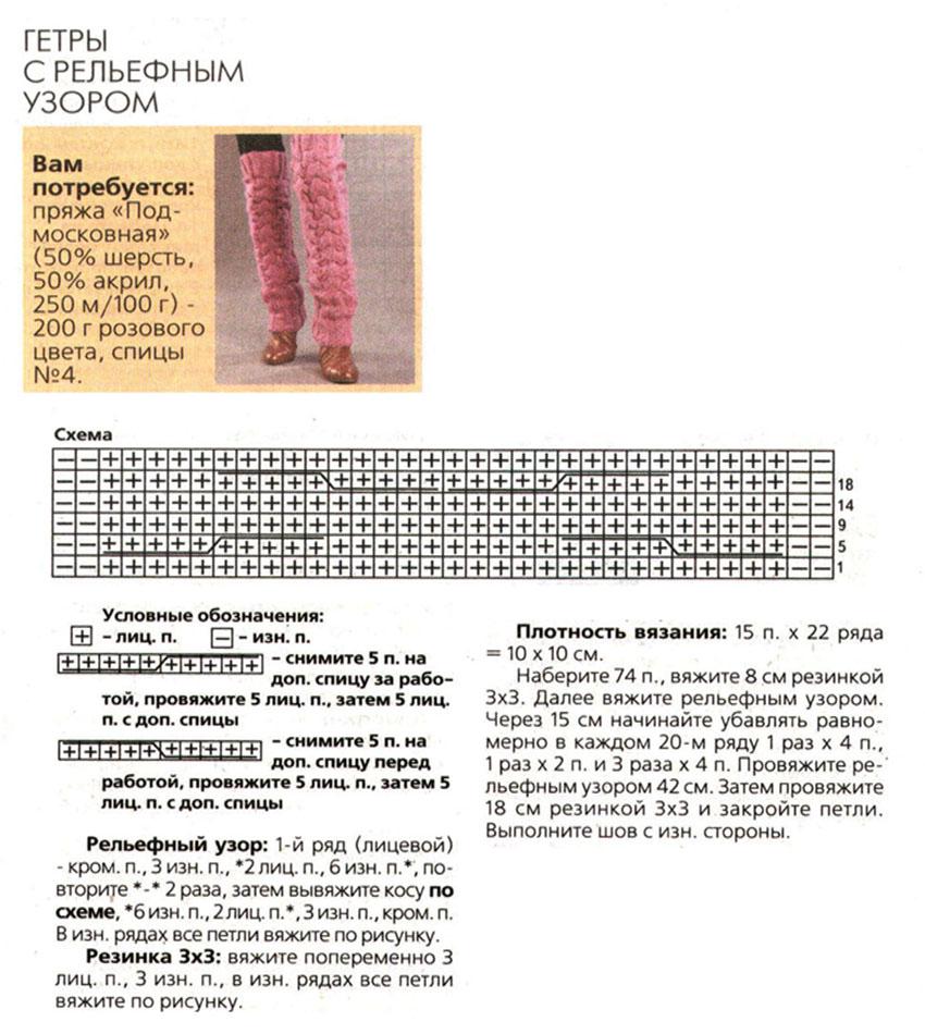 Схема гетров с рельефным узором
