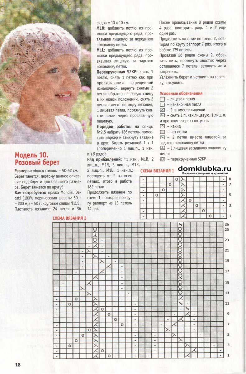 Вязание для детей спицами беретов схемы и описание