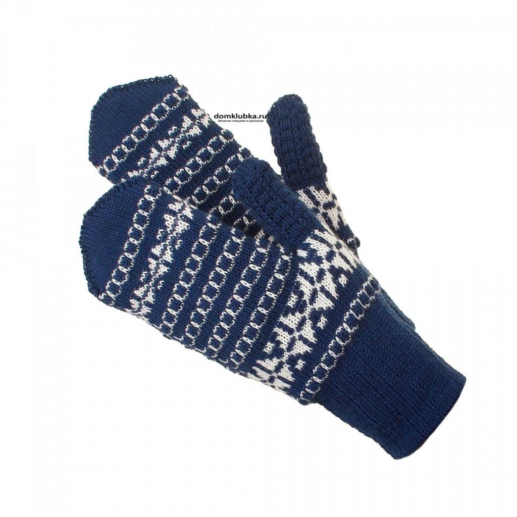 Жаккардовые рукавицы вязанные спицами