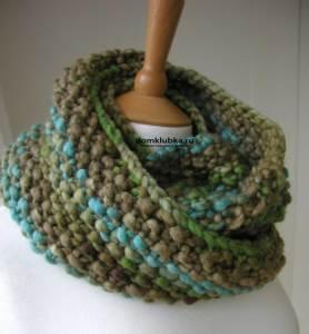 Шарф труба крупной вязкой серо-зелёно-голубой