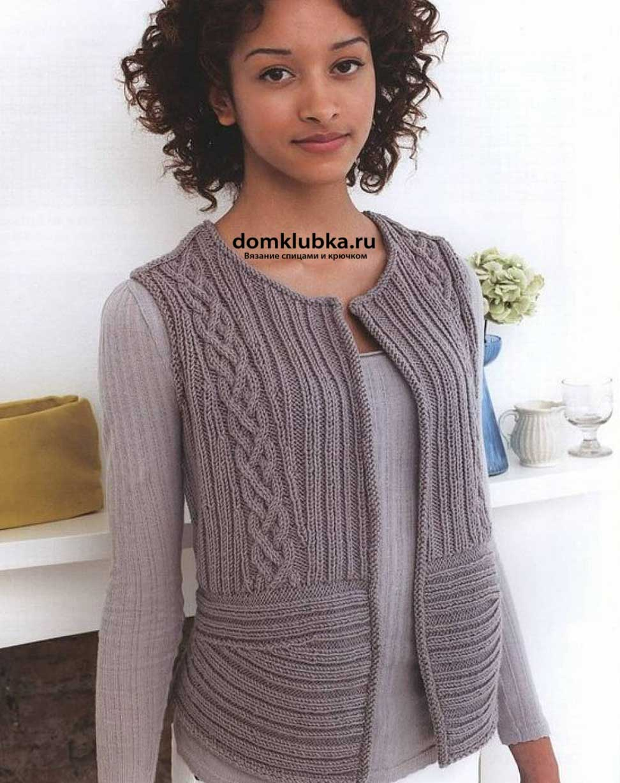 схема вязания жилетки для девочки 4-5 лет с пуговицами