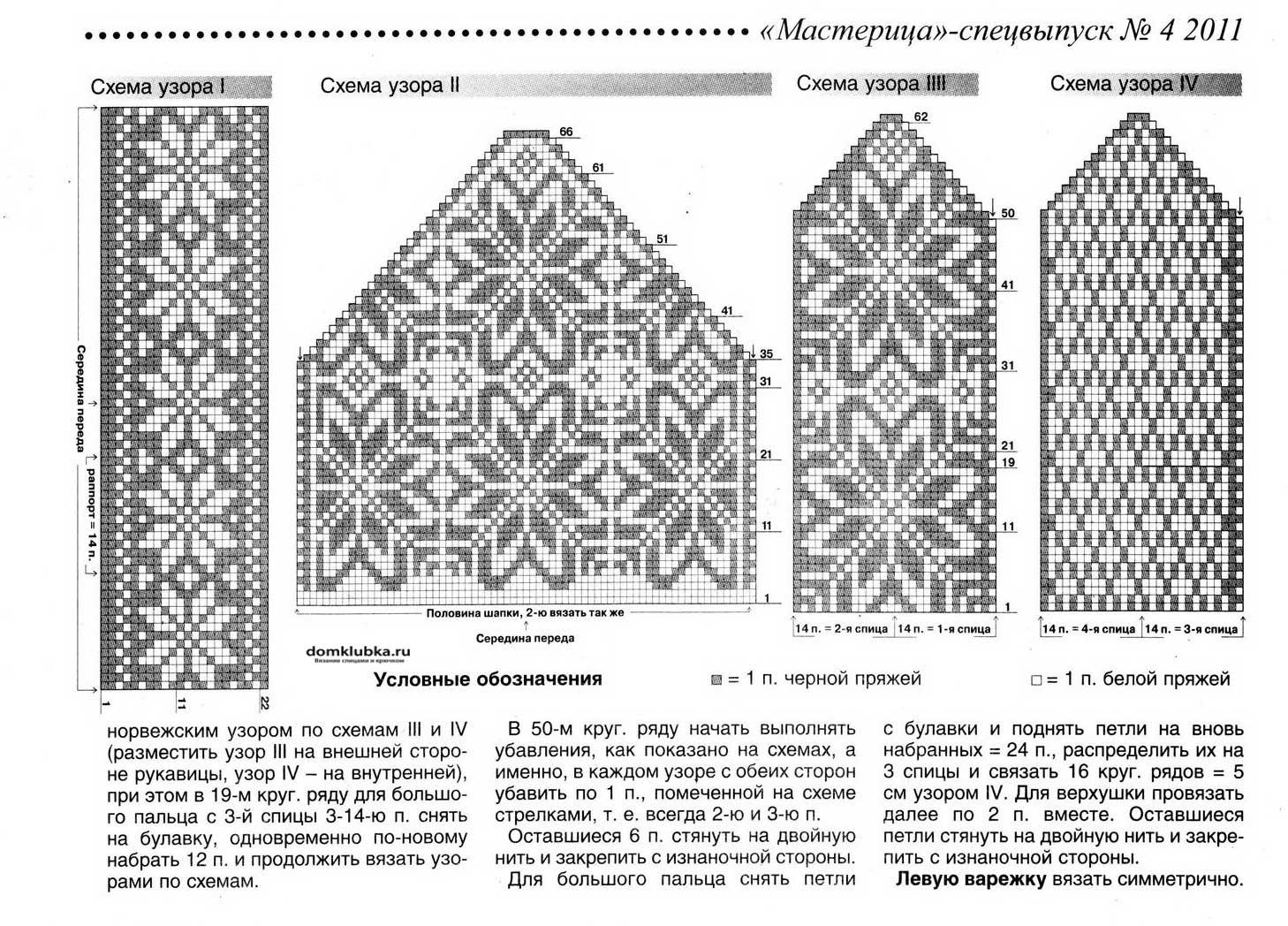 схемы вязания пальца у варежки