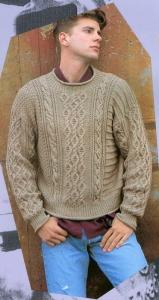 "Бежевый пуловер с ""косами"" для мужчины"