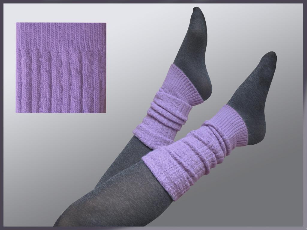 Тонкие сиреневые вязаные спицами гольфы без носка для каждого дня