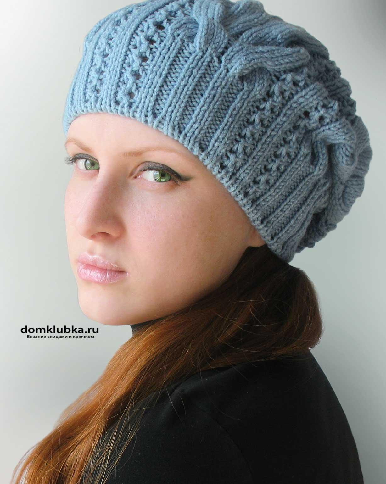 красивые шапки с косами спицами схемы