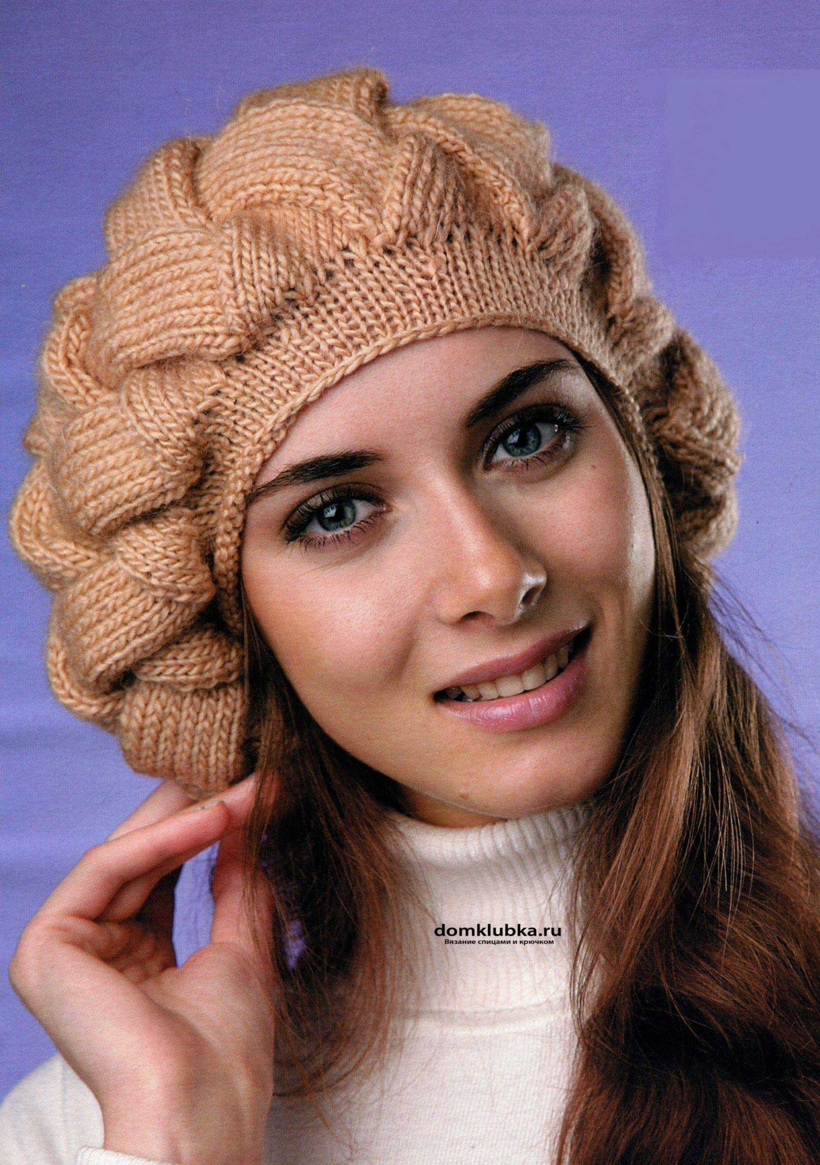 вязание на спицах шапка жемчужная зима косы плетенка схема
