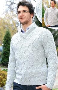 Мужской пуловер вязанный спицами с переплетениями