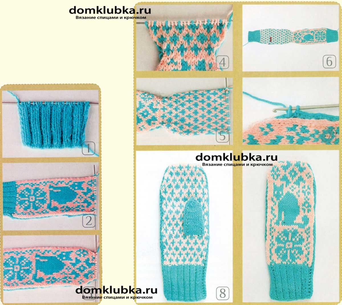Вязание на двух спицах рукавичек