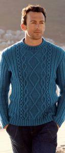 Мужской пуловер в резинку с переплетениями