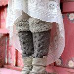 Вязаные спицами гетры для женщин с мехом