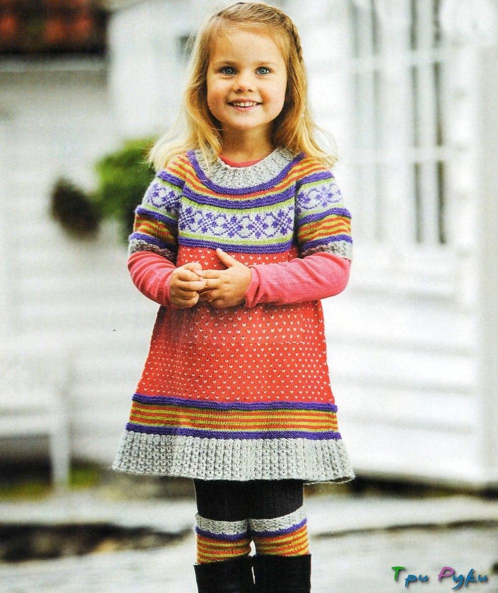 Связать теплое платье для девочки 3 года