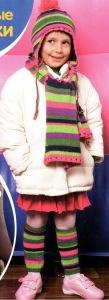 Полосатые гетры вязанные спицами для девочки
