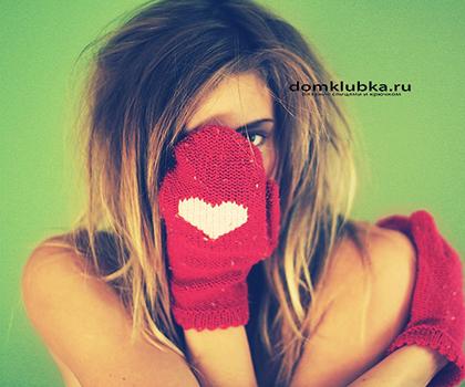 Модные варежки с рисунком сердечка