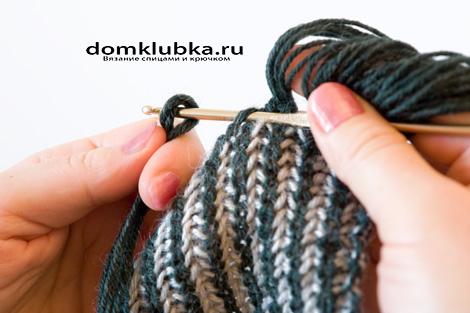Отделка шарфа бахромой