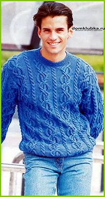 Модный синий пуловер
