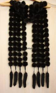 Вечерний чёрный шарф из норки