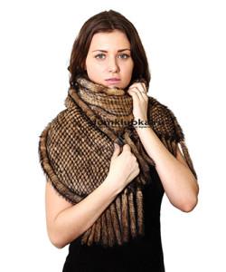 Элегантный шарф из вязаной норки