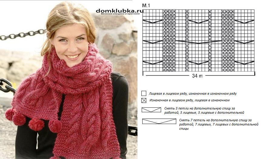 Вязание спицами снудов и шарфов модели и схемы 60