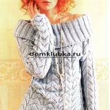 Cерый ажурный пуловер