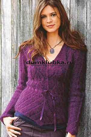 Фиолетовая кофта из мохера