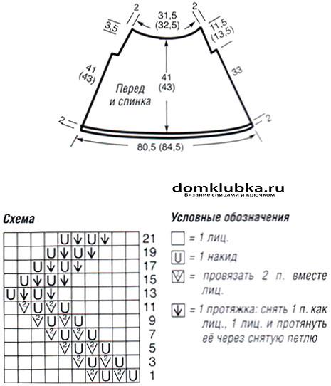 Схема для вязания летней кофточки