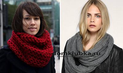 Связанный шарф круглый