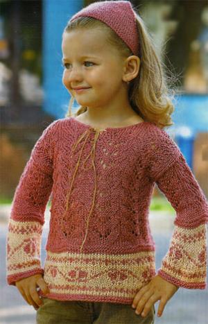 Ажурная кофточка для девочки на 3-4 года с платочком. Ажурный пуловер и платочек (спицами). 28.01.2011