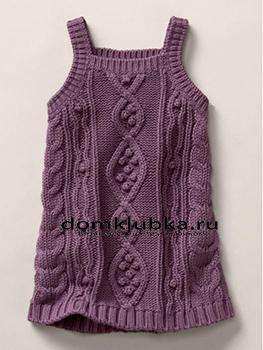 Фиолетовый стильный сарафан для девочки