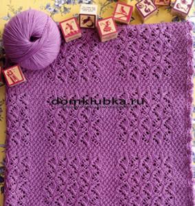 Вязаный спицами детское одеяло