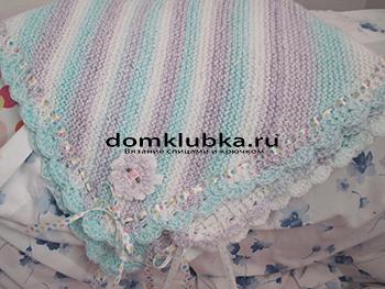 Одеяло для новорожденных связанное по диагонали
