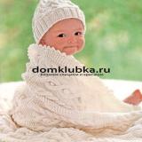 Белое вязаное одеяло спицами
