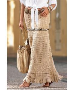 Длинная кремовая юбка