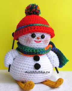 Украшение Снеговик на лыжах