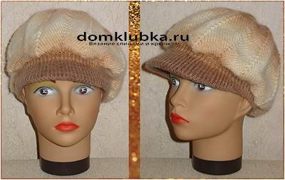 Вязаная кепка, ракурс спереди и слева