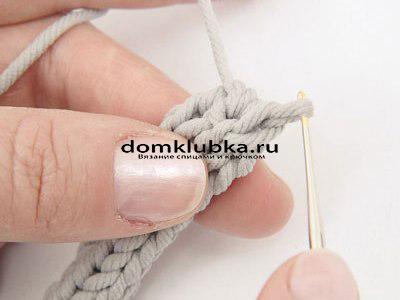 Плетение круглого пояса-шнура - процесс вязания №9