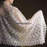 Белая вязаная шаль