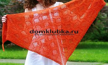 Вязаная оранжевая косынка