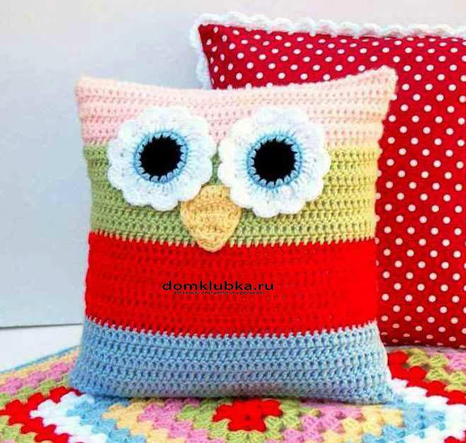 подушка сова с большими глазками