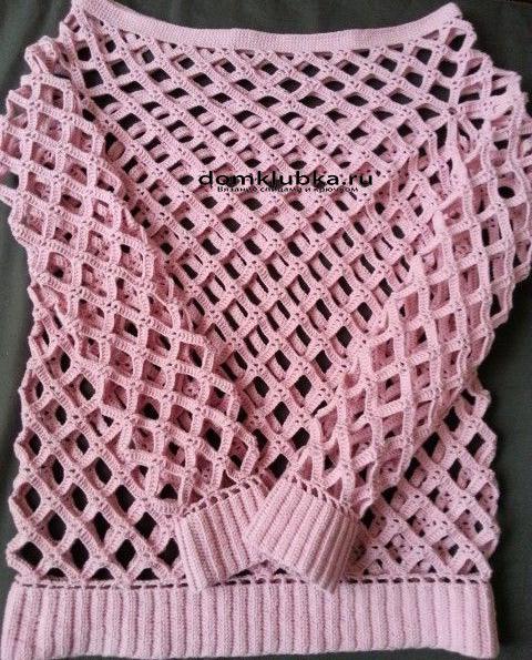 розовая вязаная кофточка