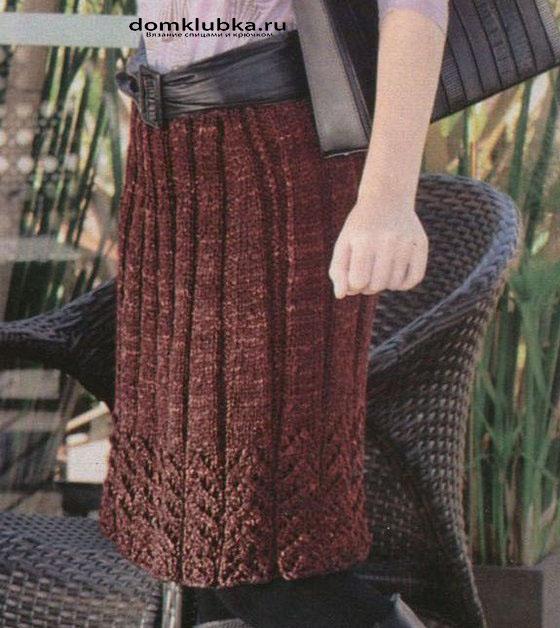 Тёплая вязаная юбка