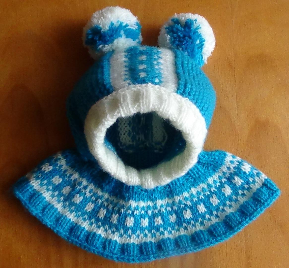 Шапку шлем зимнюю украшаем помпонами