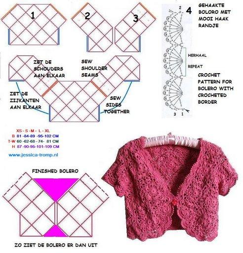 Схема вязания болеро из квадратов