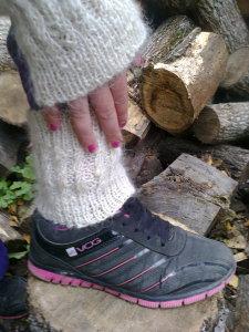 Белые, теплые, ажурные гольфы без носка для повседневной носки и занятий спортом