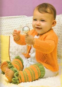 Полосатые гетры для малышки с рюшами