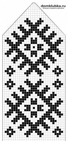 Схема для вязания спицами рукавиц с жаккардовым узором