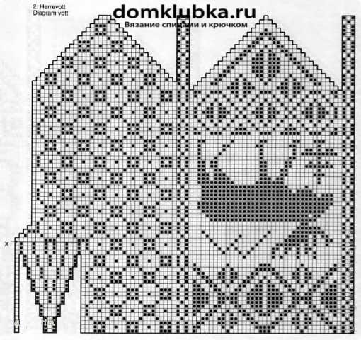 Схема для вязания мужских рукавиц с лосем