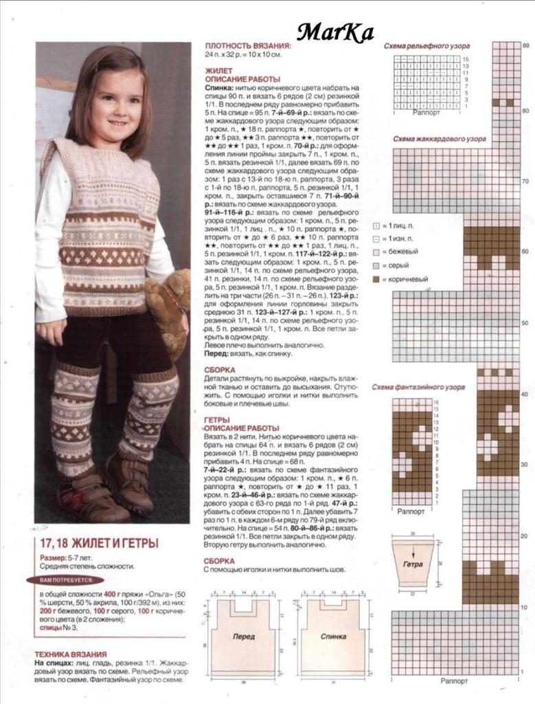 Описание, схема по вязанию спицами детских гетров