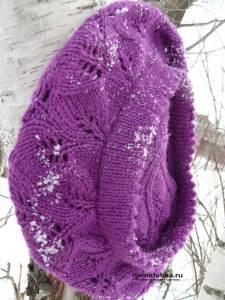 Яркий фиолетовый головной убор с дырочками