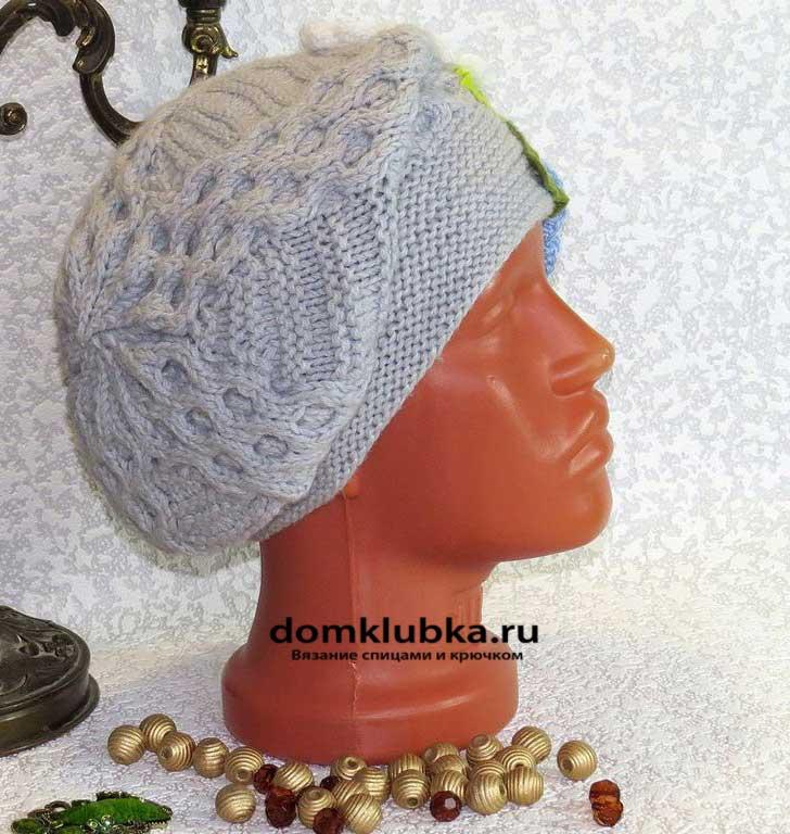 Сложный серый головной убор с ажурными косами