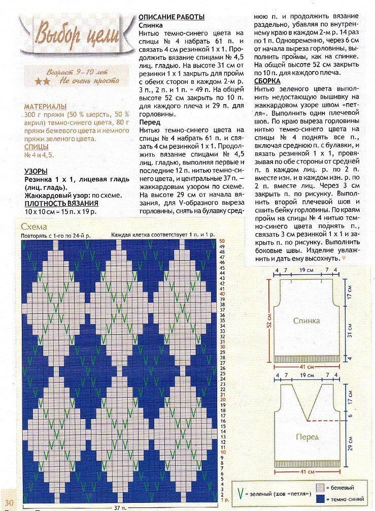 """Схема и описание по вязанию спицами жилетки для мальчика с рисунком """"ромбы"""""""